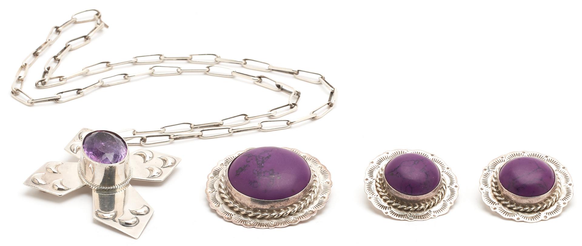 Lot 1218: 4 Pieces Sterling & Purple Stone Jewelry Pcs.