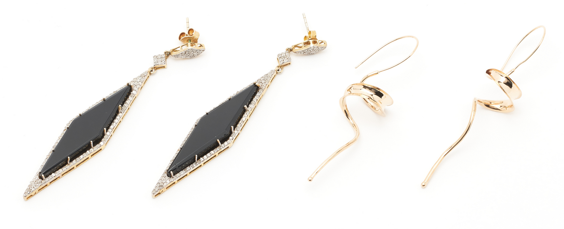 Lot 1219: 4 Pairs Ladies Gold & Sterling Earrings