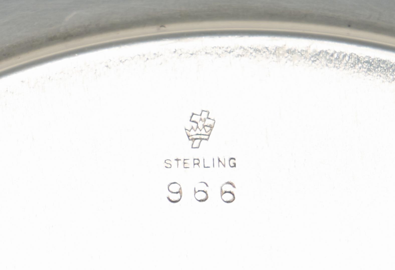 Lot 1224: Sterling Silver Vegetable Bowl, Sandwich Plate