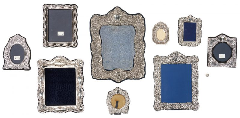 Lot 1229: Nine (9) Sterling & Silverplated Picture Frames