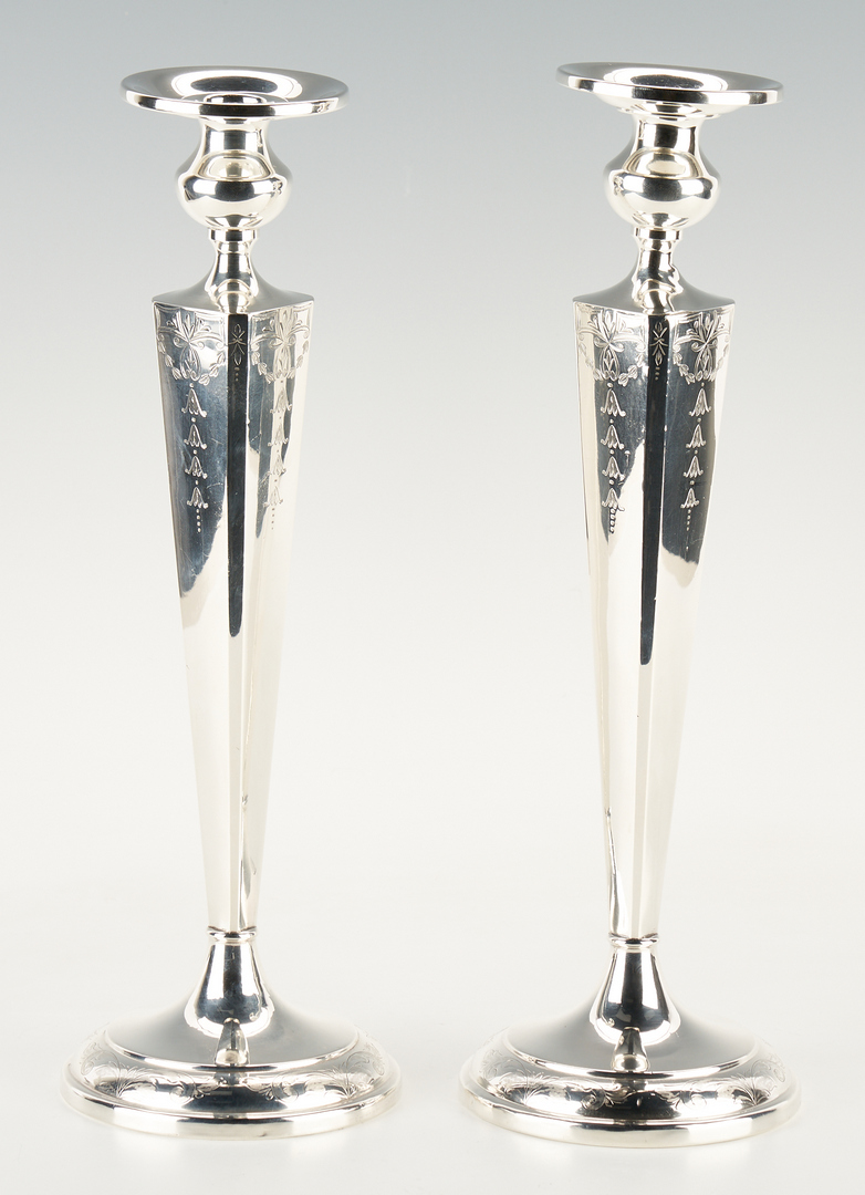 Lot 1231: 2 Sterling Marked Boxes & Pr. Sterling Weighted Candlesticks