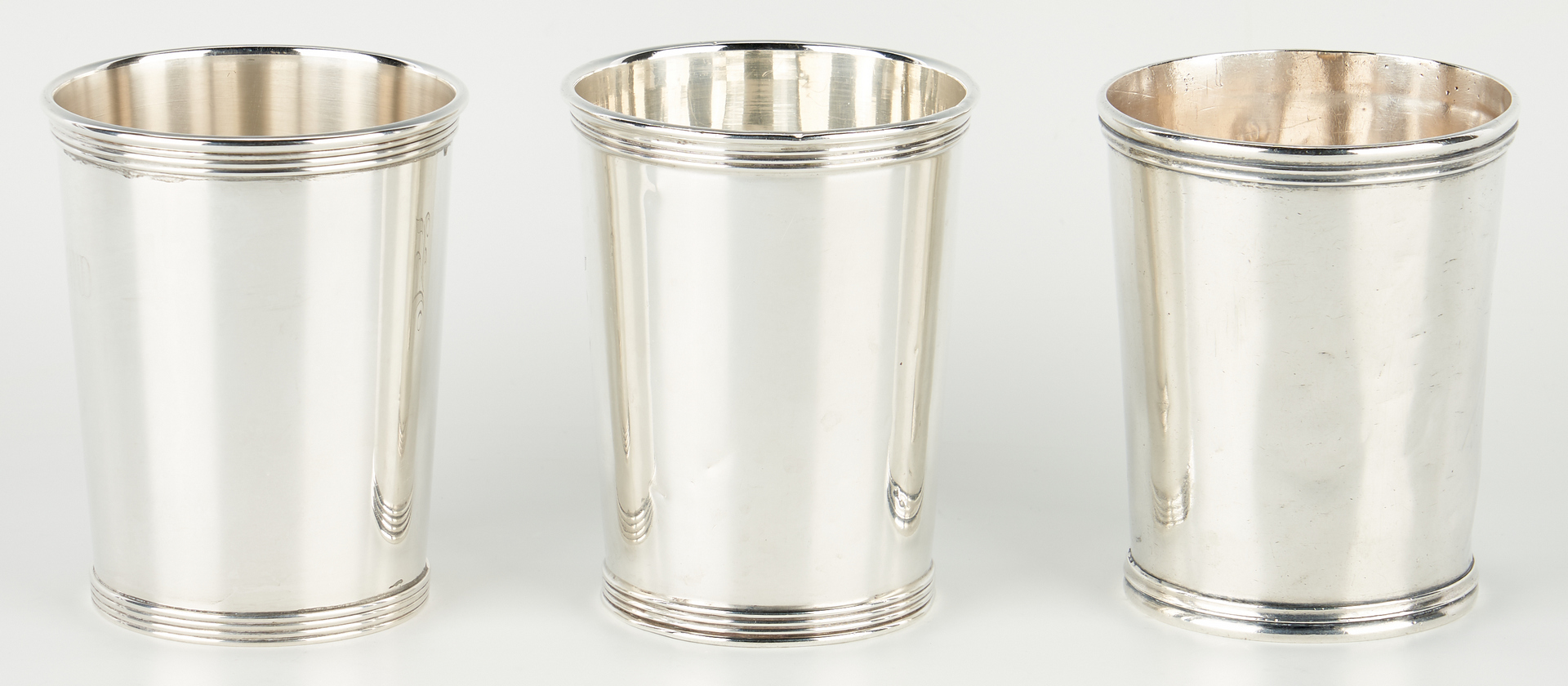 Lot 1237: 3 Silver Julep Cups, Coin and Sterling