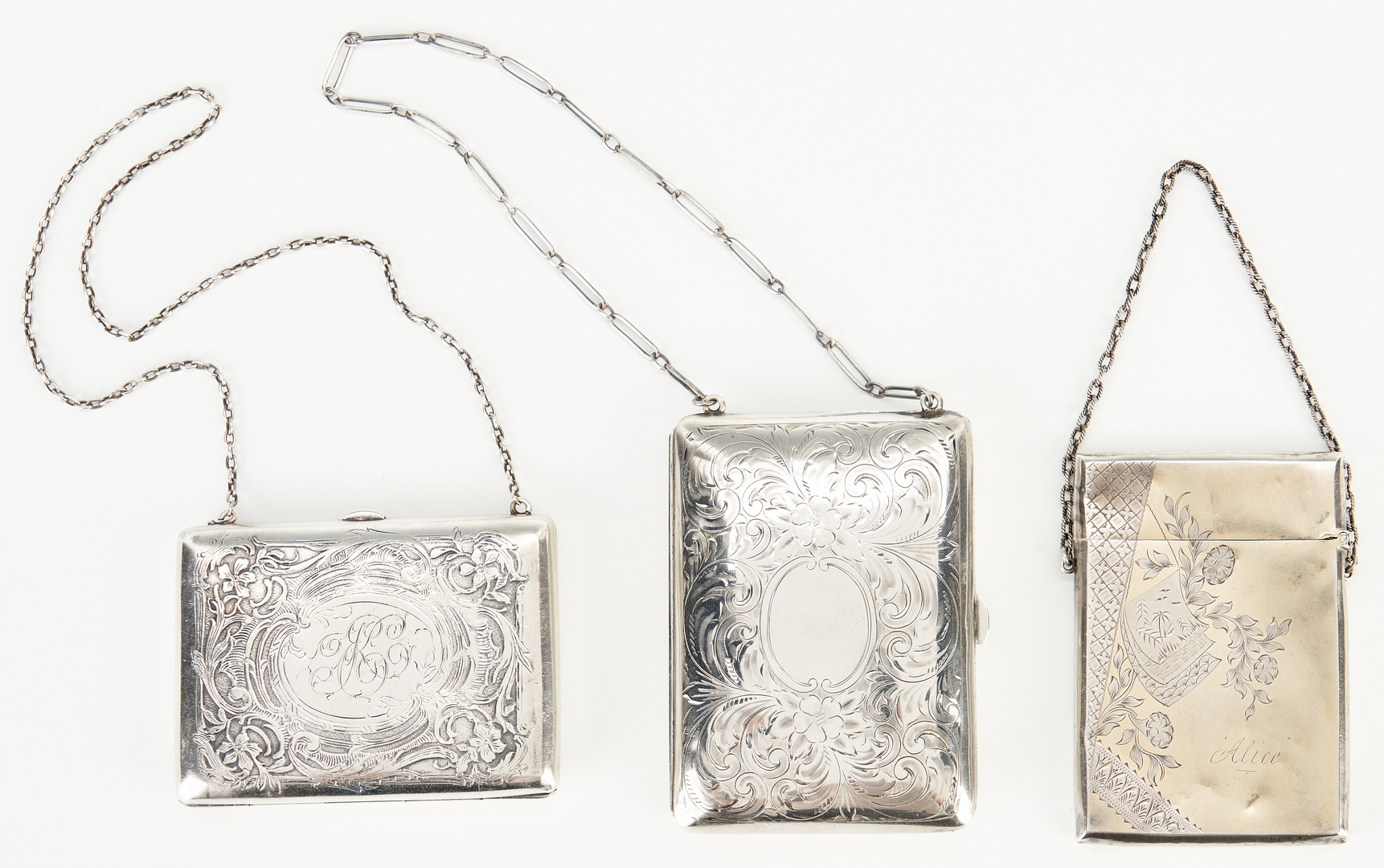 Lot 1238: 5 Sterling Silver Card Case + Keychain, 6 items