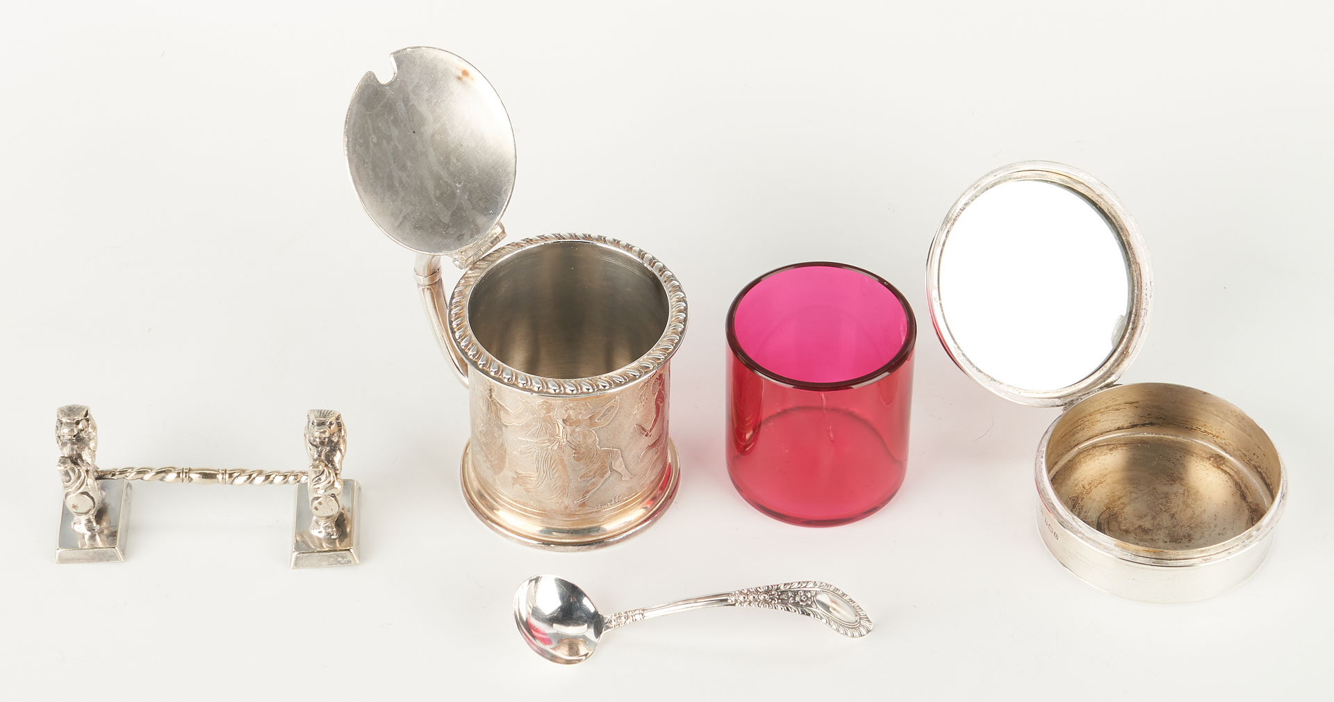 Lot 1240: 8 Antique Sterling & Silver Plated items inc. Cartier