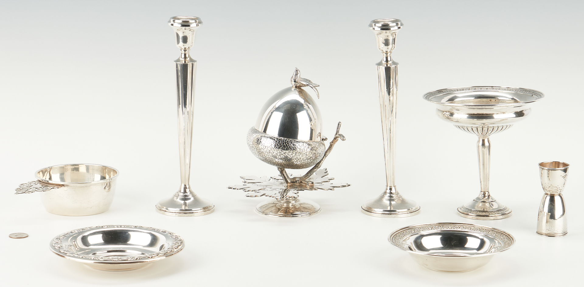 Lot 1241: 7 Sterling Items plus Figural Silverplated Bowl