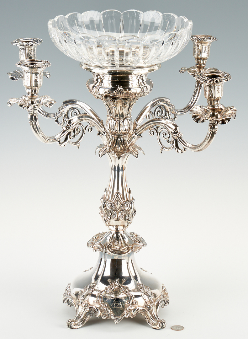 Lot 1244: Old Sheffield Plated Four Branch Epergne with Crest