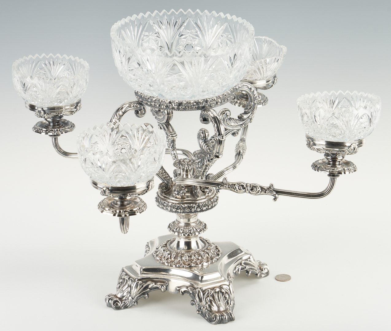 Lot 1248: English Silverplated Epergne, Walker, Hall & Co.