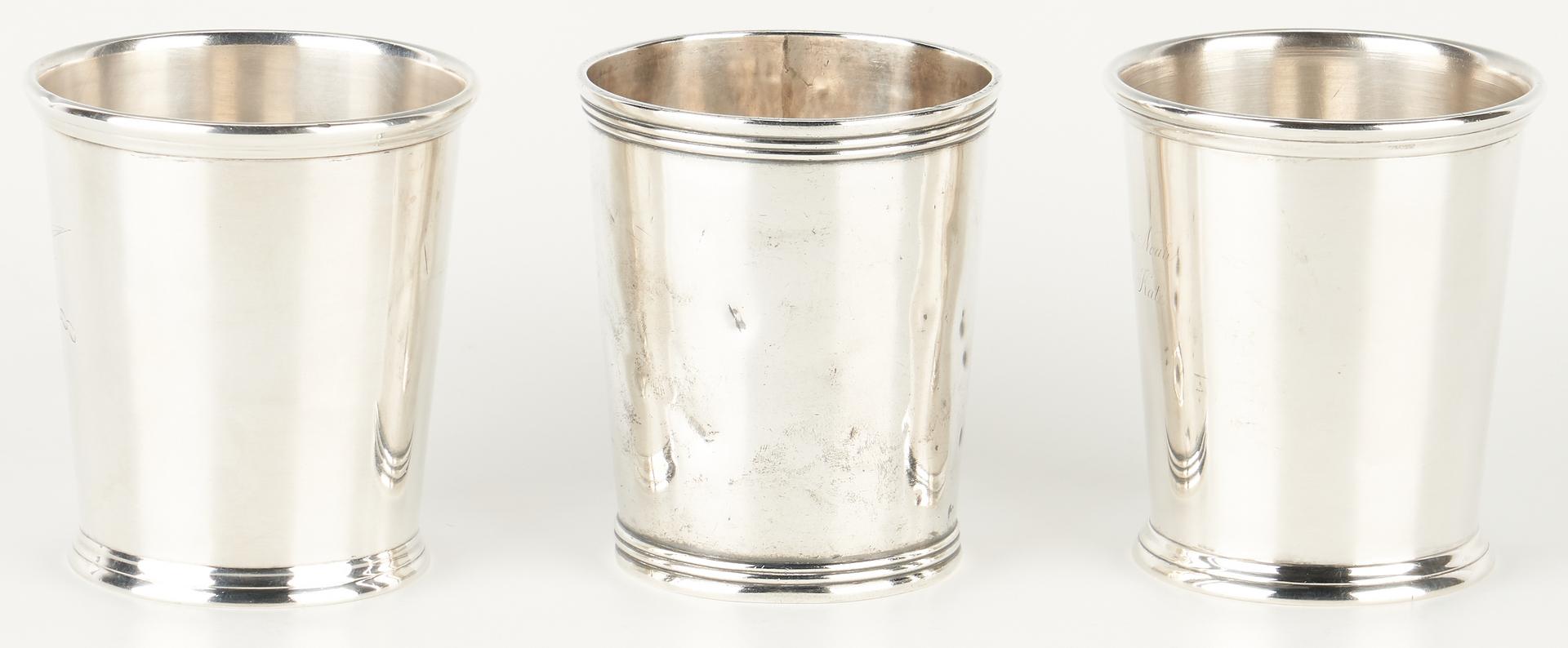 Lot 126: 3 Kentucky Akin Retailed Coin Silver Julep Cups