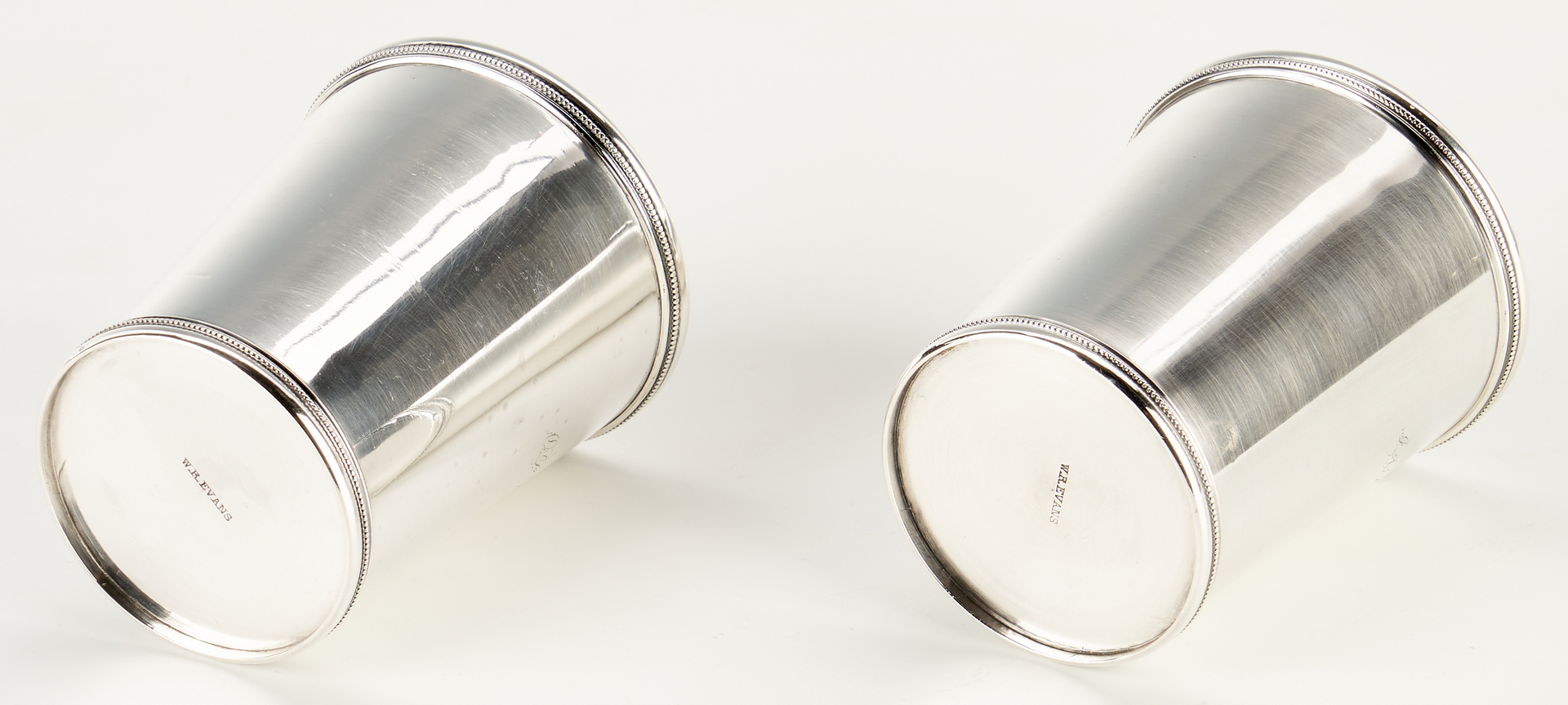 Lot 127: 2 Coin Silver Julep Cups, W.R. Evans