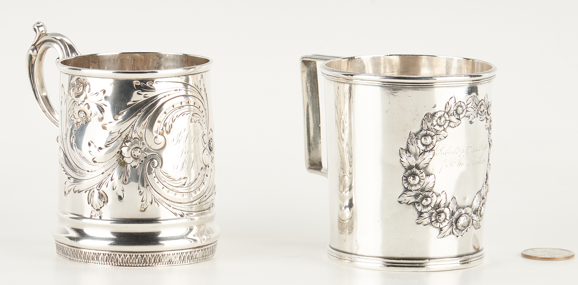 Lot 128: 2 KY Coin Silver handled cups, Stewart and Hinton