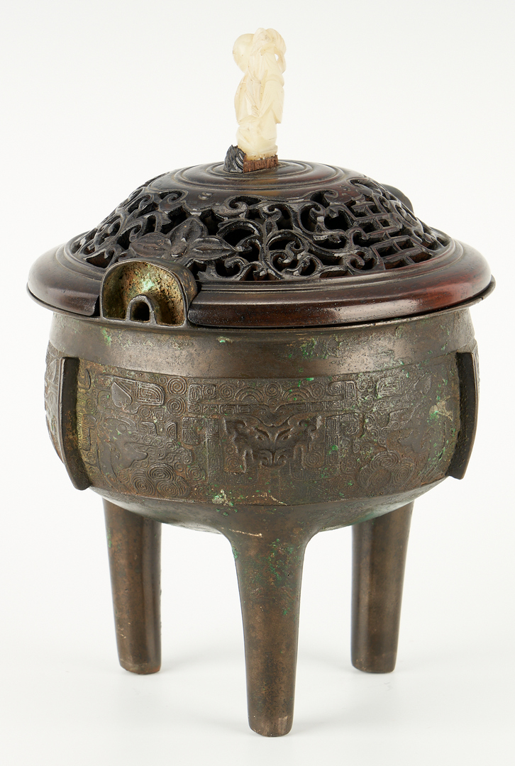 Lot 12: Chinese Bronze Censer with White Jade Finial