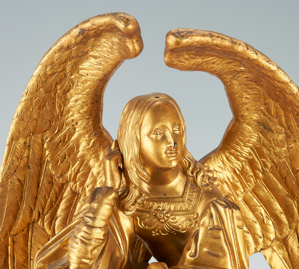 Lot 130: French Gilt bronze Mantel Clock w/ Figural Angel