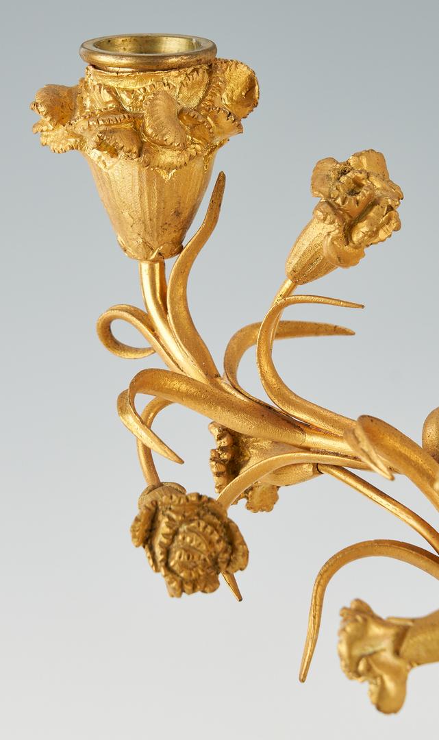 Lot 131: Pair Napoleon III Ormolu and White Marble Candelabra