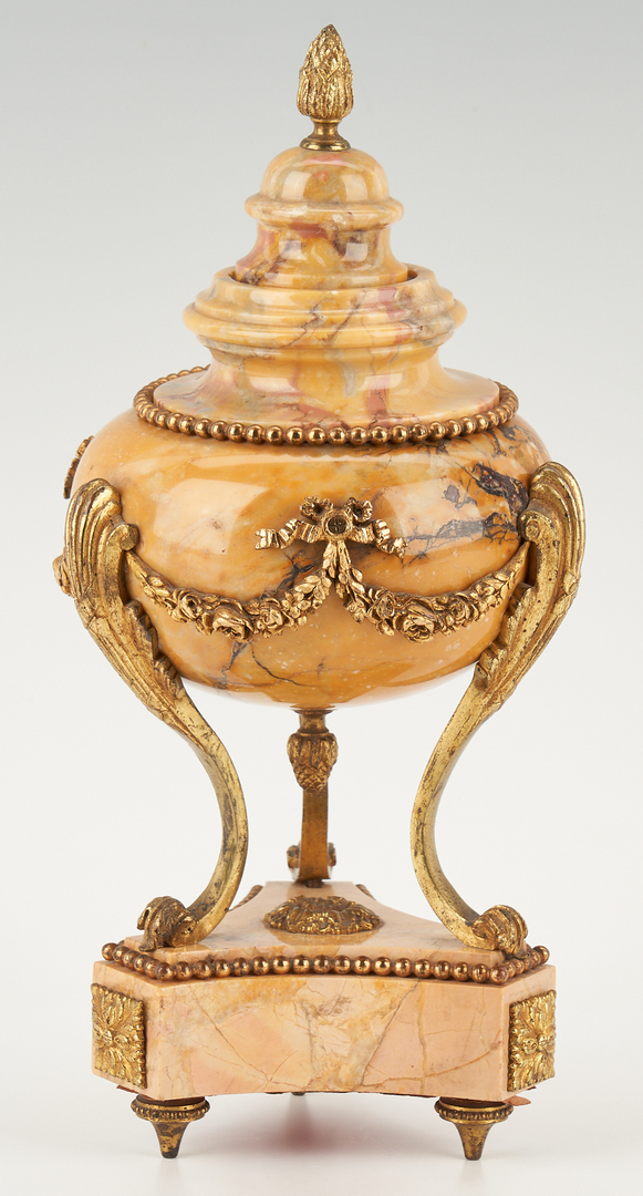 Lot 132: Pr. Ormolu Mounted French Marble Urns