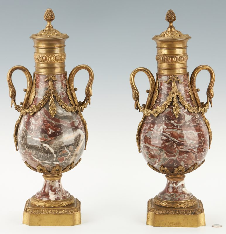 Lot 133: Pair Louis XVI Style Rouge Marble and Ormolu Cassolettes or Urns