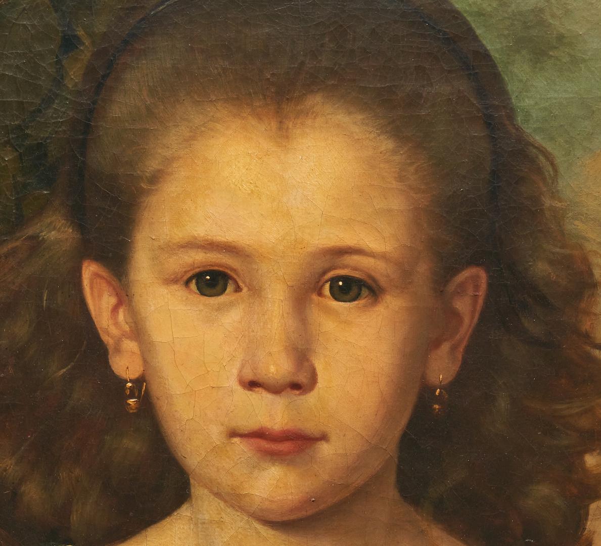 Lot 138: Signed European School O/C Portrait of a Little Girl, poss. Jozef Budzynski
