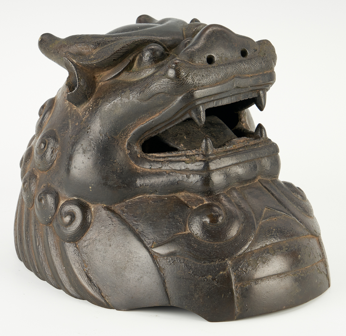 Lot 13: Large Chinese Bronze Luduan Form Censer