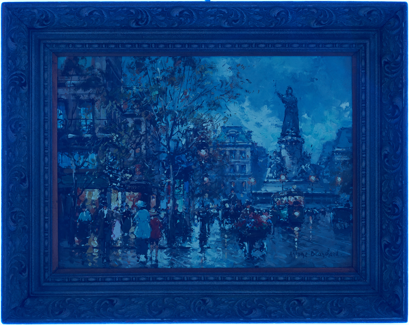 Lot 141: Antoine Blanchard O/C Painting, Parisian Street Scene
