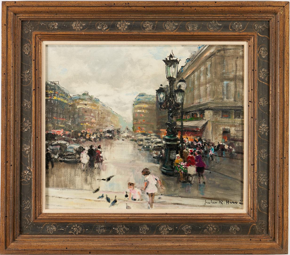 Lot 142: Jules Rene Herve O/C Painting, Parisian Street Scene