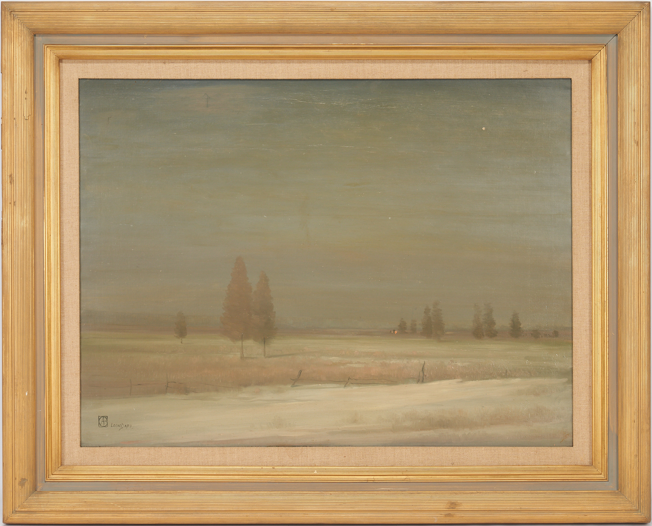 Lot 145: Leon Dabo O/C Winter Landscape Painting