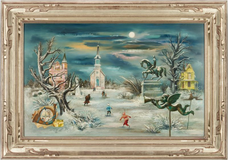 Lot 149: Aaron Bohrod O/B Painting, Winter Landscape by Moonlight