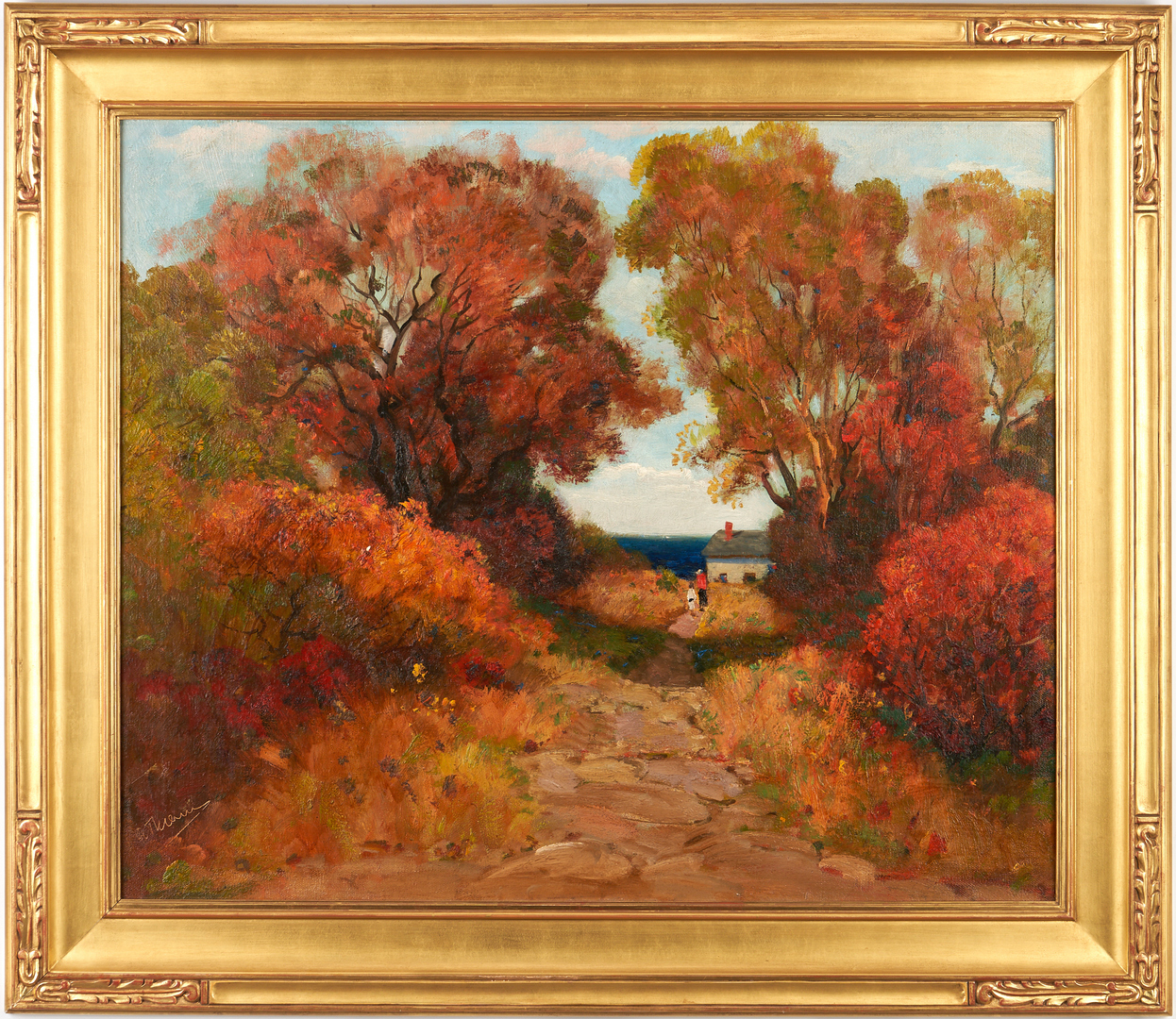 Lot 151: Anthony Thieme O/C Landscape Painting, Figures on a Country Road
