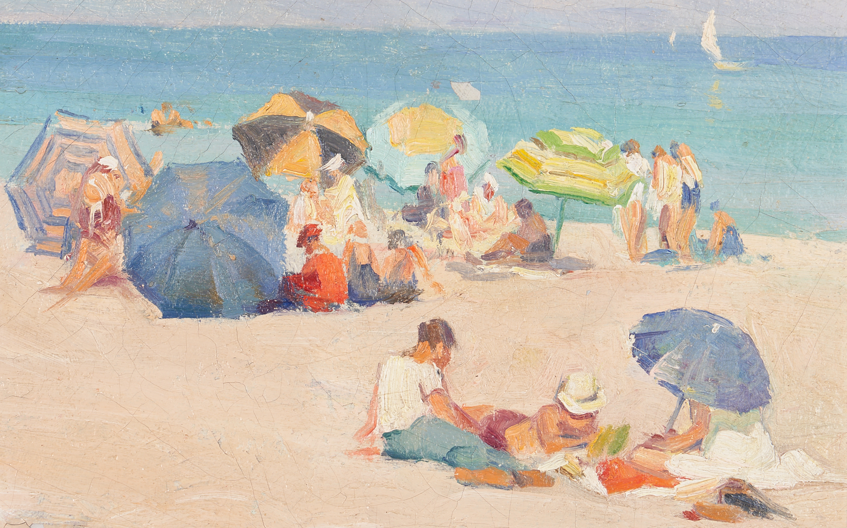 Lot 152: Mabel Woodward O/B Painting, Umbrellas on the Beach