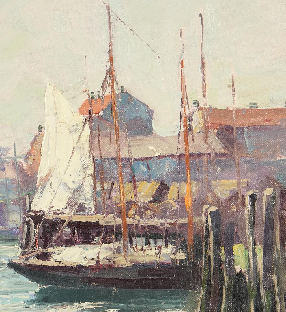 Lot 156: Leo Blake O/B Marine Painting, Harbor Scene