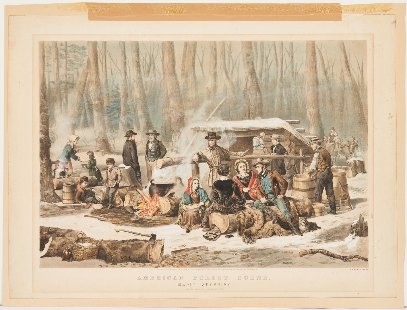 Lot 159: Currier and Ives: American Forest Scene, Maple Sugaring 1856