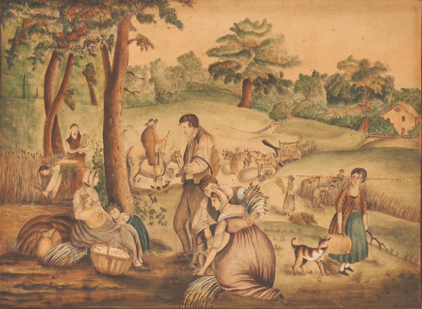 Lot 160: Signed East TN Watercolor titled The Harvesters