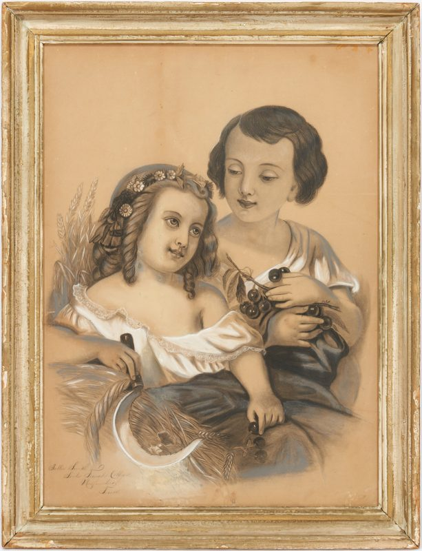 Lot 161: Soule Female College, TN Drawing of Two Children, 19th c.