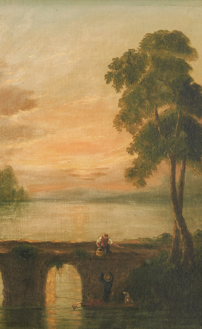 Lot 162: Pr. Oil on Canvas Landscapes, attrib. Joseph Meeker