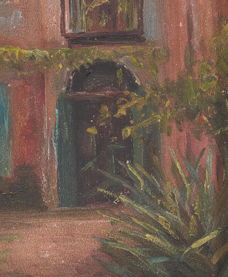 Lot 163: Cornelius Hankins O/B Painting, New Orleans Courtyard