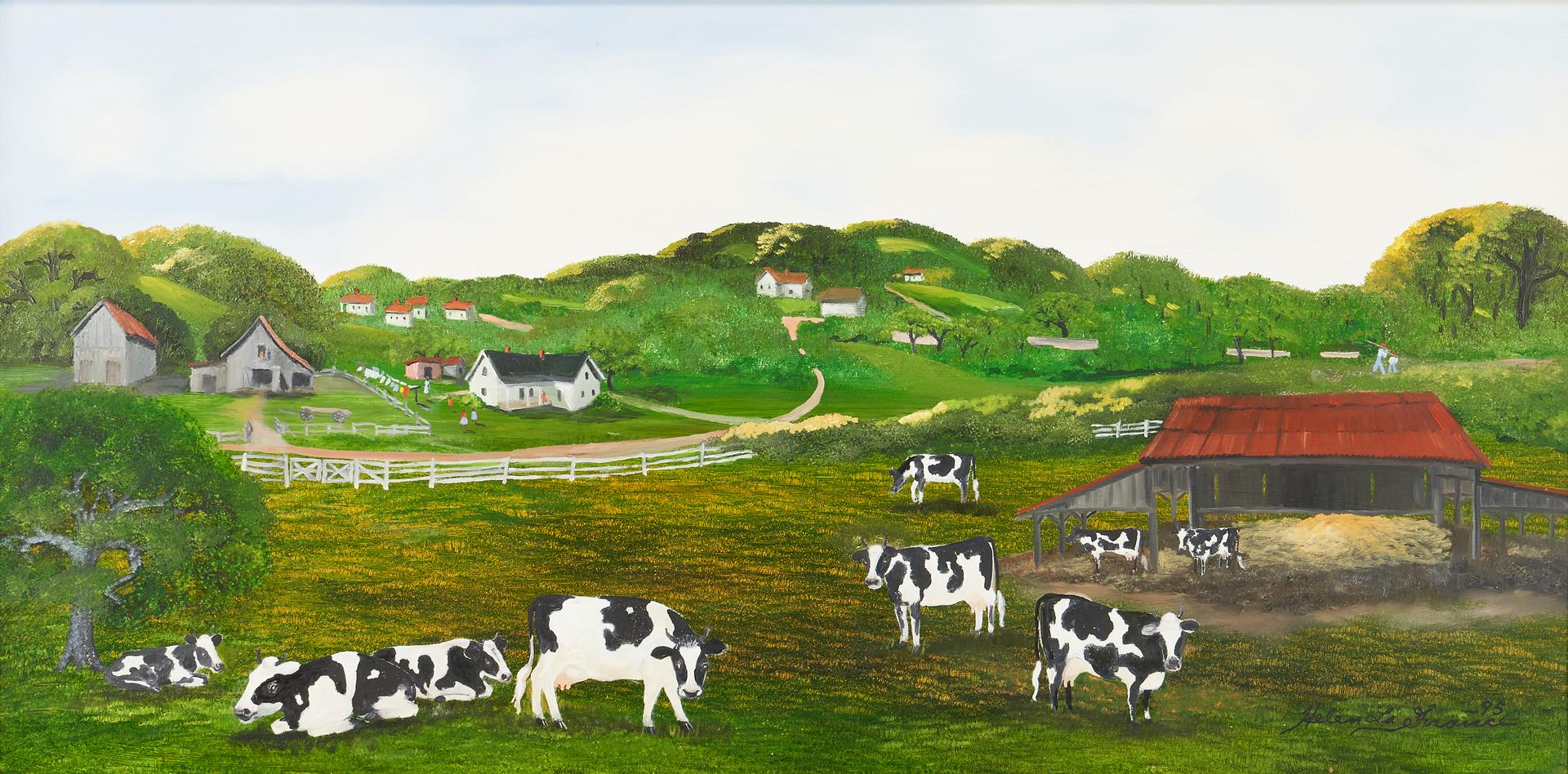 Lot 166: Helen LaFrance Oil on Board Panoramic Farm Scene