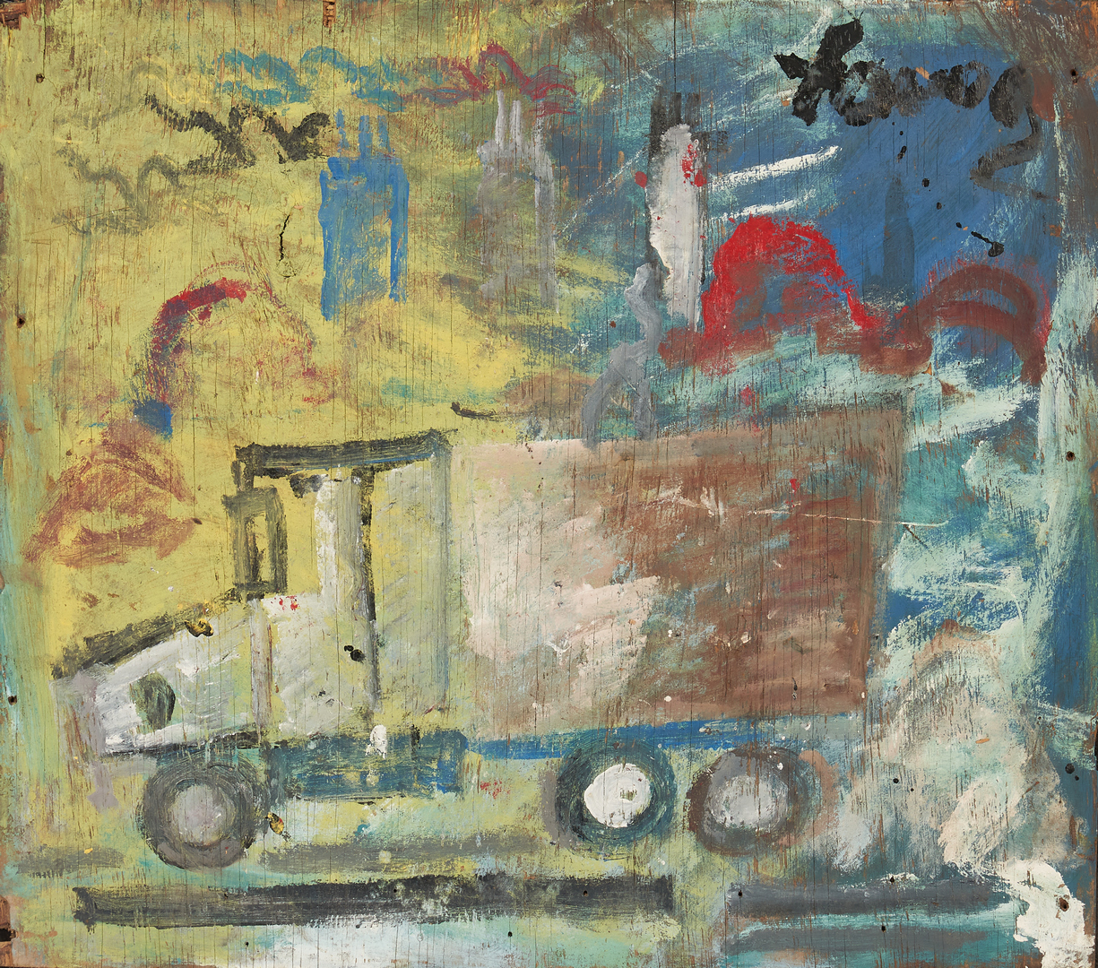Lot 168: Purvis Young Outsider Art Painting, Semi Truck
