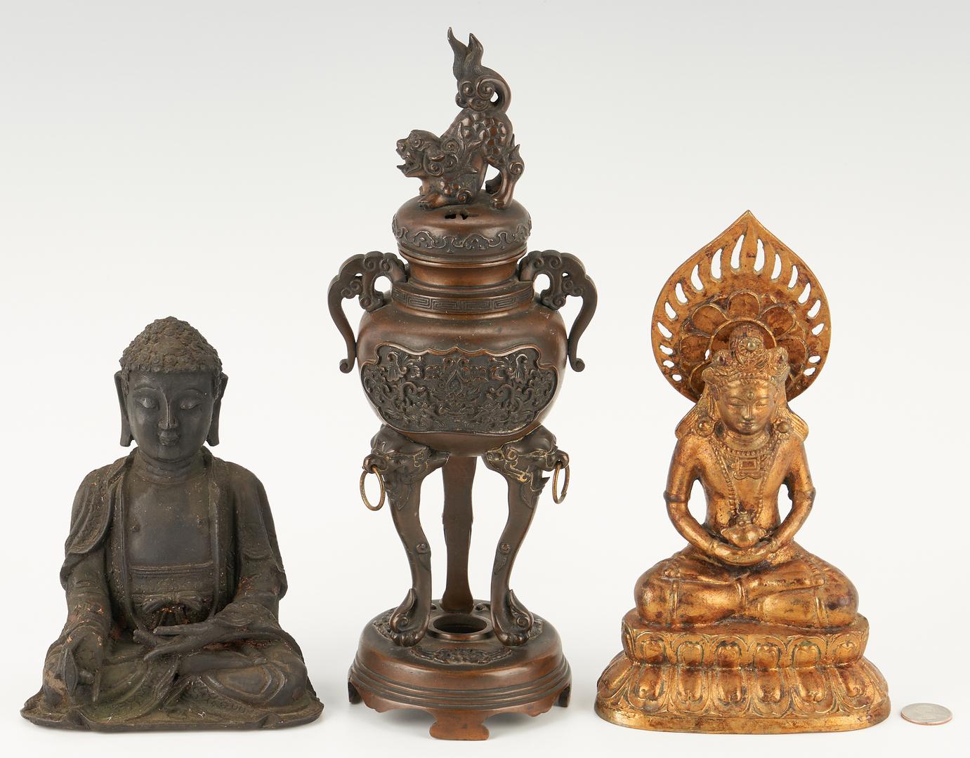 Lot 16: 3 Asian Bronze Items, Buddhas & Censer
