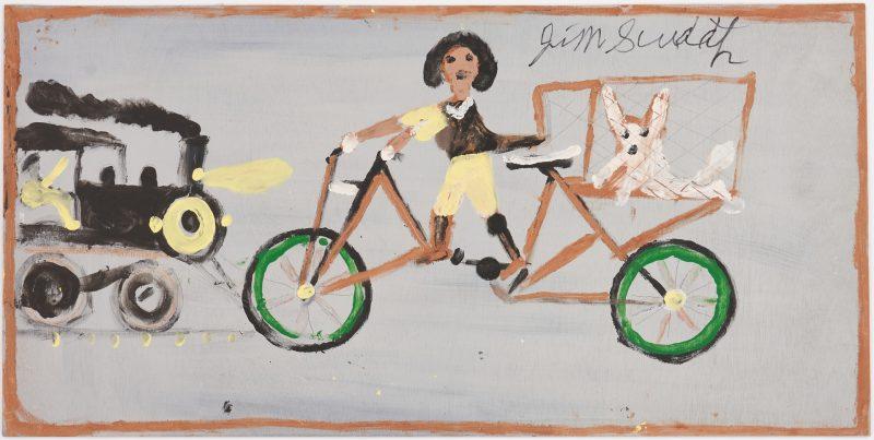 Lot 173: J. L. Sudduth Folk Art Painting, Girl on Bicycle w/ Dog
