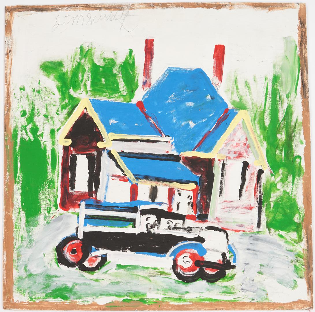 Lot 174: 2 J. Sudduth Folk Art Paintings, Cabin & House w/ Truck