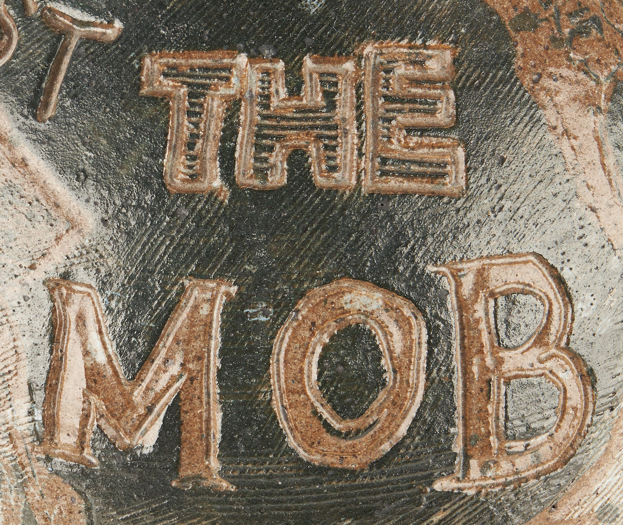 """Lot 175: Charles Counts Civil Rights Pottery Jar, """"Against the Mob"""""""