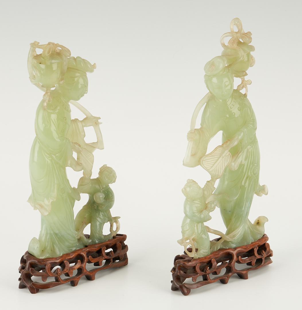 Lot 17: 5 Asian Decorative Items, incl. Chinese Green Jade Scholars w/ Original Box