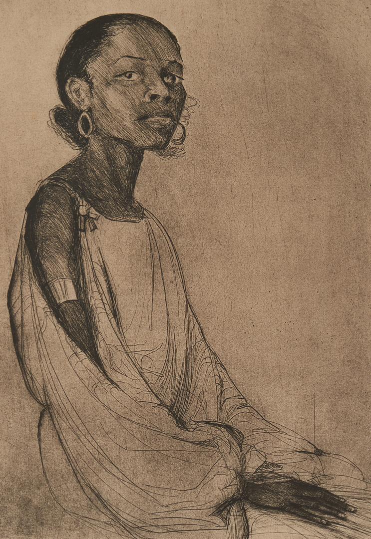 Lot 181: Elizabeth O'Neil Verner Etching, The Brown Singer