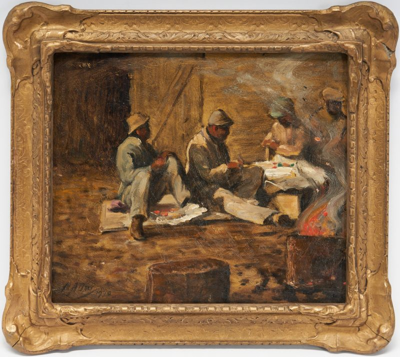 Lot 182: Matthew Daly O/B Painting, Hod Carriers at Lunch