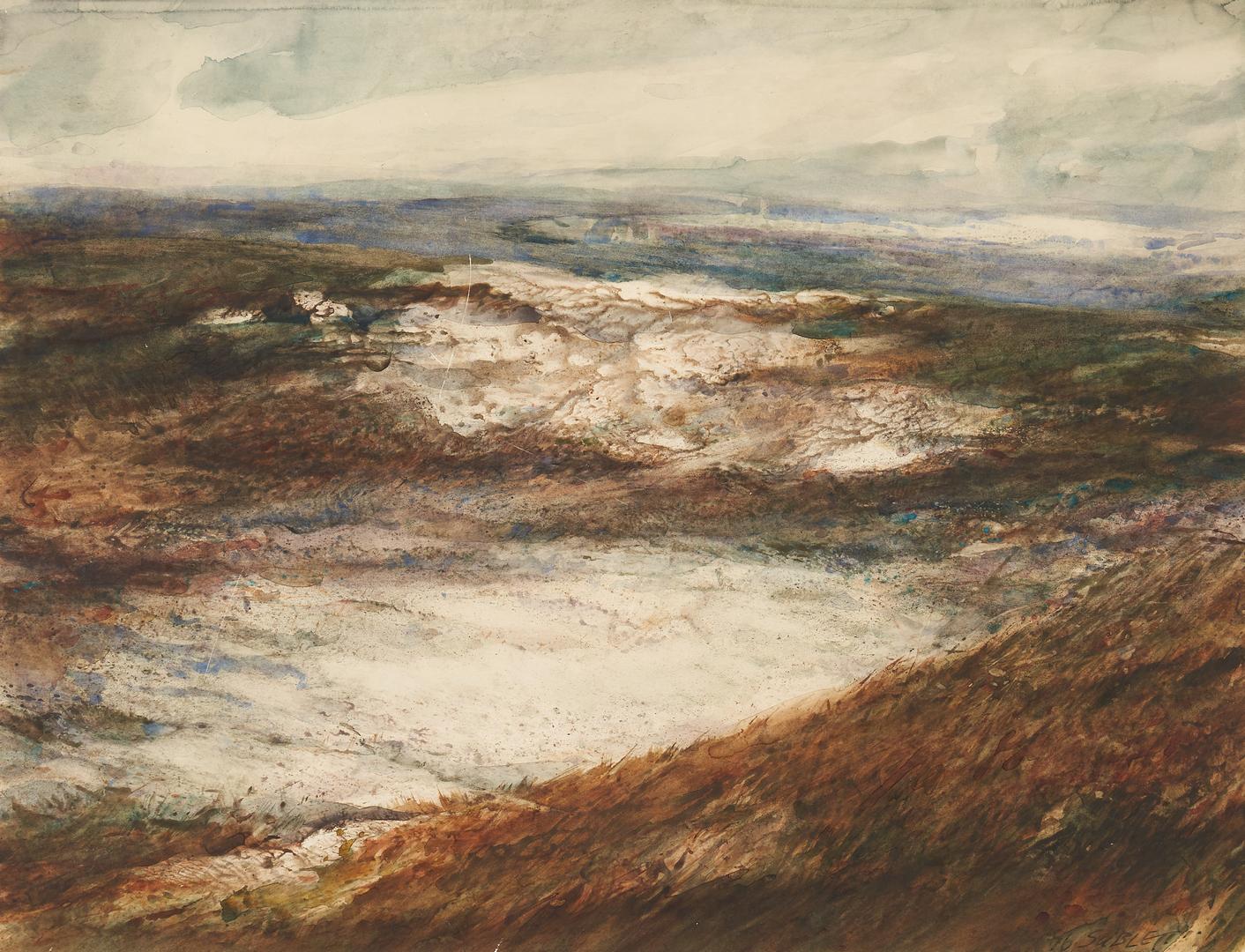 Lot 188: Exhibited Carl Sublett W/C Landscape Painting, Wintered Ridge #176
