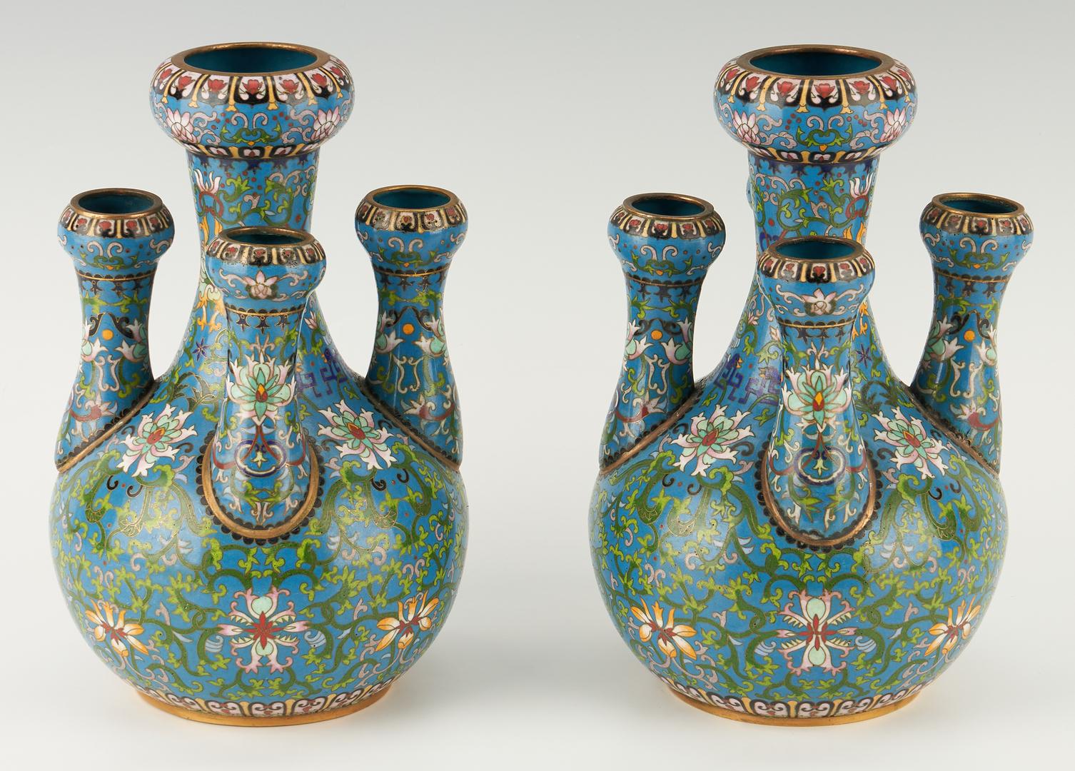 "Lot 18: Pair Chinese Cloisonne Garlic Bulb ""Candelabra"" Vases"