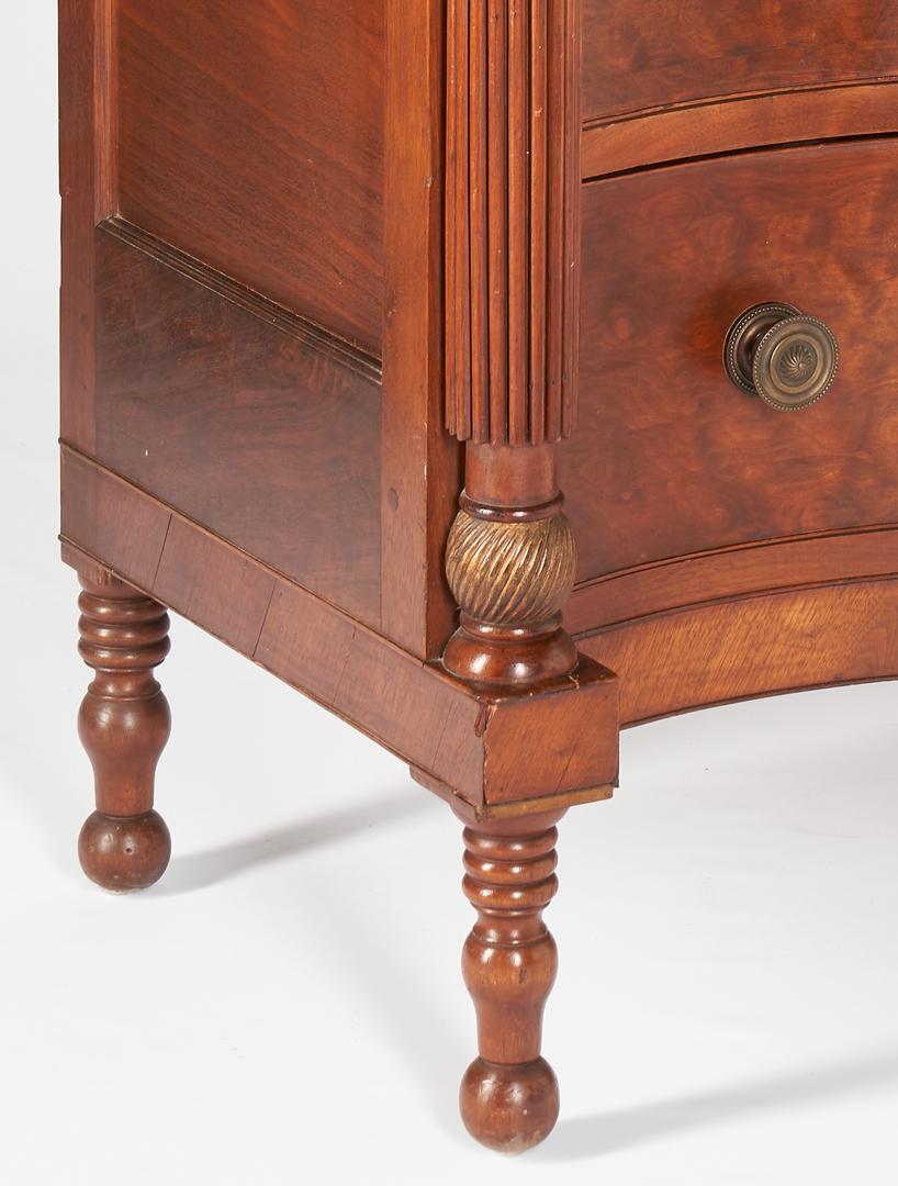 Lot 196: East TN Figured Walnut Serpentine Chest of Drawers, Hawkins Co.