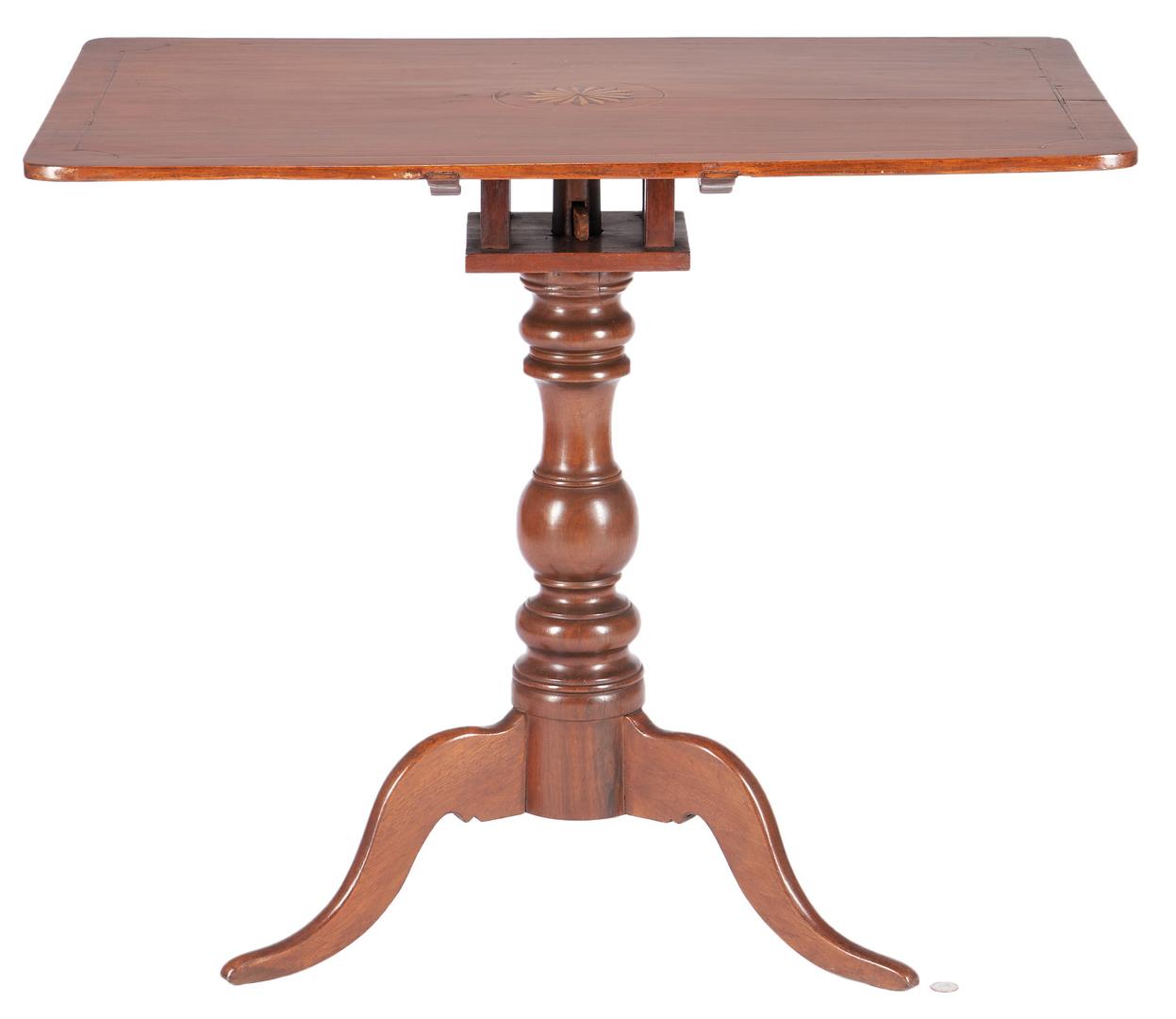 Lot 197: East Tennessee Inlaid Tea Table, Hawkins Co.