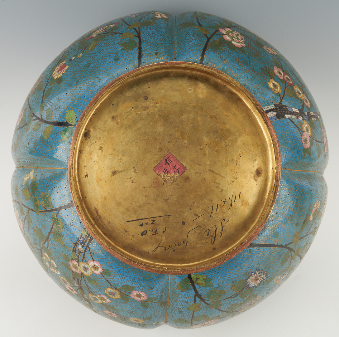 Lot 19: Large Chinese Cloisonne Jardiniere