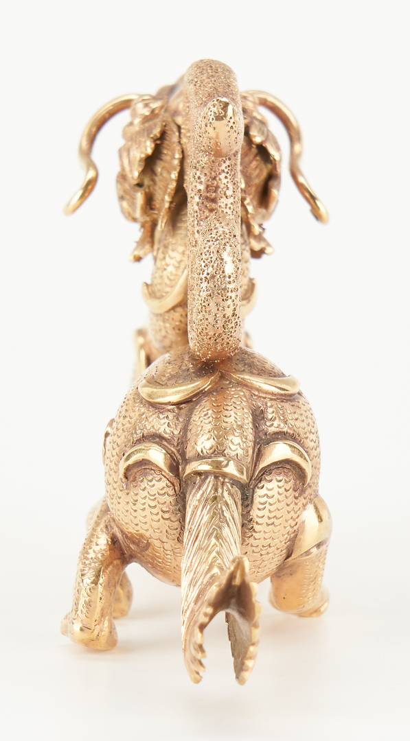 Lot 1: Chinese 14K Gold Figural Dragon on Stand