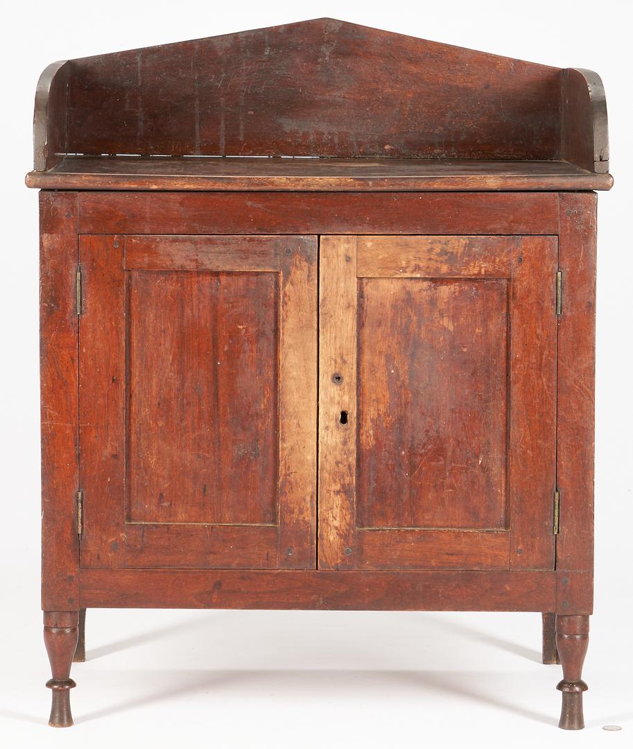 Lot 210: Southern Miniature or Child's Walnut Sheraton Cupboard, VA history