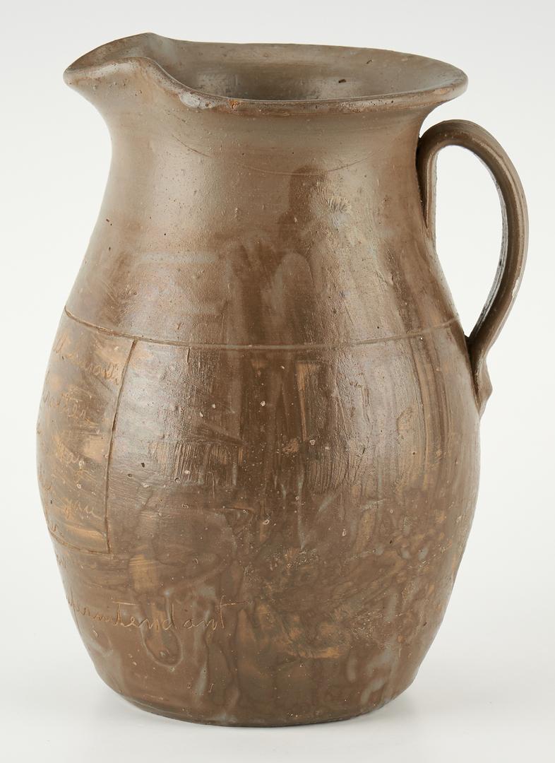Lot 215: Middle TN Stoneware Pitcher w/ inscription, L.D. Moore